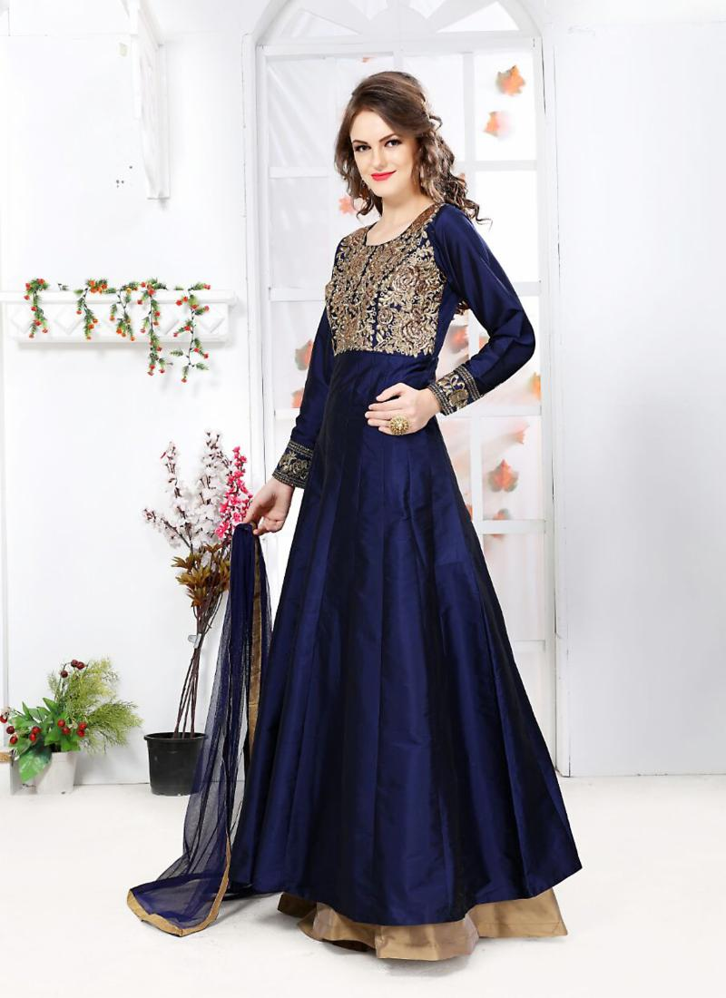 10c599c77e Silk Fabric with Embroidery Work Incredible Unstitched Salwar Kameez |  Ambif.com